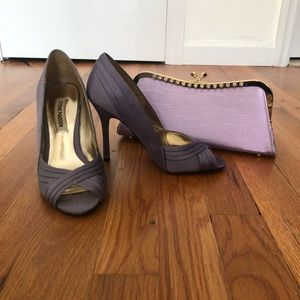 Steve Madden lavender open toe pumps, clutch.